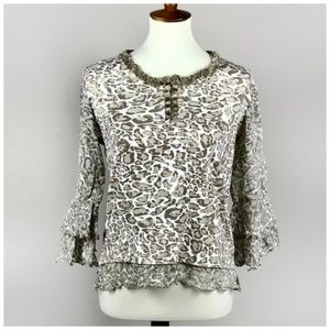 Multiples Leopard Print Intricate Beaded Lace Top